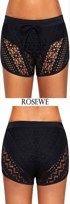 Black Lace Panel Drawstring Waist Swimwear Shorts.#Rosewe#swimwear#shorts