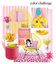 """Color Challenge"" by hellodollface ❤ liked on Polyvore featuring interior, interiors, interior design, home, home decor, interior decorating, Glas Italia, Yves Delorme, ESPRIT and Dot & Bo"