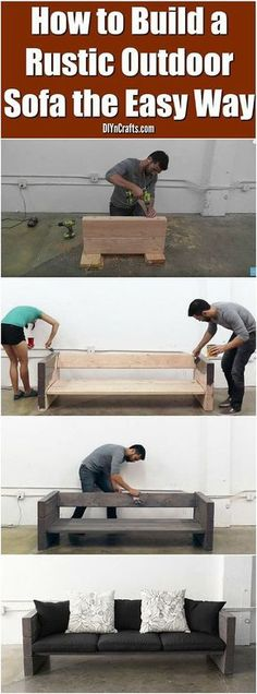 How to Build a Rustic Outdoor Sofa the Easy Way! This is a cool easy diy outdoor sofa project! You will love having this awesome diy furniture on your porch or in your backyard! Try making this simple rustic sofa today! Pallet Furniture, Furniture Projects, Rustic Furniture, Wood Projects, Backyard Furniture, Sofa Furniture, Cheap Furniture, Furniture Stores, Luxury Furniture