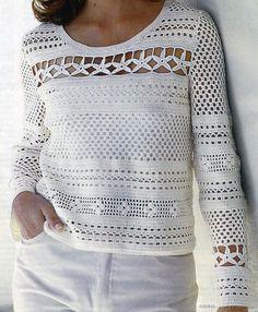 Ажурный летний пуловер— крючком.. Обсуждение на LiveInternet - Российский Сервис Онлайн-Дневников