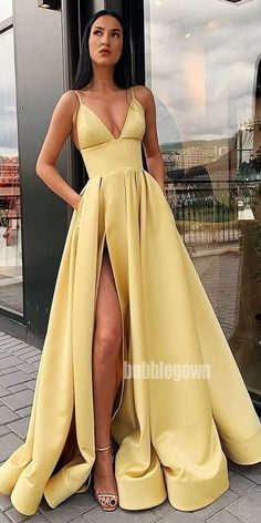 Yellow Satin Split Long Prom Dresses with Pockets, Simple Ev.- Yellow Satin Split Long Prom Dresses with Pockets, Simple Evening Dresses - Prom Dresses With Pockets, Straps Prom Dresses, Cute Prom Dresses, Prom Outfits, Mode Outfits, Elegant Dresses, Pretty Dresses, Formal Dresses, Dress Prom