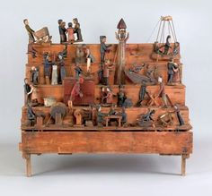 Anonymous Works: 19th Century Carved Automaton with 25 Different Activities on Five Tiers