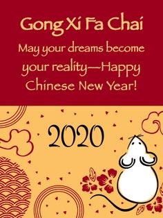 Send Free Cute Rat - Happy Chinese New Year Card for 2020 to Loved Ones on Birthday & Greeting Cards by Davia. It's free, and you also can use your own customized birthday calendar and birthday reminders. Chinese New Year Wishes, Chinese New Year Traditions, New Year Wishes Images, Chinese New Year Greeting, New Years Traditions, New Year Pictures, Chinese New Year 2020, Year Quotes, Quotes About New Year
