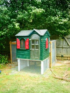 This mom had bigger plans for her upcycled playhouse. It's now a home for the family's feathered friends.