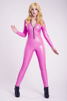 Pink PVC Catsuit - Living Dead Clothing