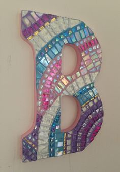"Made to Order 9"" Mosaic Art Wall Letter- "" Swirl B"""