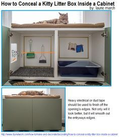 How to Conceal a Kitty Litter Box Inside a Cabinet. Turn a standard prefab laminate cabinet (best with a cabinet that has doors that open in the front, for easy cleanup and access to the litter pan) into a kitty station complete with litter box containmen Food Storage Cabinet, Dog Food Storage, Baby Storage, Hidden Litter Boxes, Diy Litter Box, Litter Box Enclosure, Cat Litter Mat, Laminate Cabinets, Cat Toilet