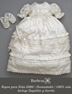Vestido para bautizo de niña Burbvus G002 | Hecho con 100% Seda Natural