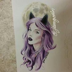 Créations Josée Godin Wolf, completely done.  #art #artist #illustrator #illustration #wolf #moon #fullmoon #purple #purplehair #draw #drawing #sketch #sketching #doodle #woman #darklips #makeup #blueeyes #geek #geekgirl #artwork #nerd