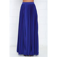 Back in a Minute Royal Blue Maxi Skirt ($139) ❤ liked on Polyvore featuring skirts, royal blue skirt, long accordion-pleat skirt, pleated skirt, blue skirt and high waisted long skirt