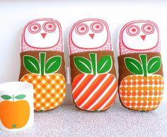 handmade toy owl, 70s apple fabric - jane foster [http://janefoster.co.uk]