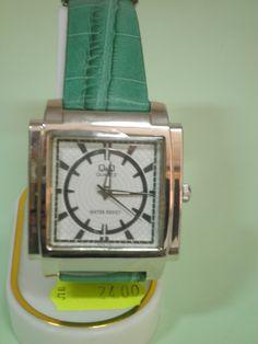 Часовник със зелена каишка - Q&Q, Онлайн магазин Моник