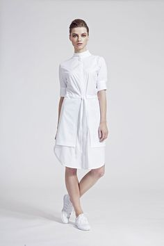 IMRECZEOVA SS16 white shirt dress Ss16, White Dress, High Neck Dress, Shirts, Dresses, Fashion, Turtleneck Dress, Gowns, Moda
