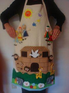 Noah's ark apron - uses felt Noah's ark figures. Tell the whole story on your apron. Sunday School Activities, Bible Activities, Sunday School Lessons, Sunday School Crafts, Bible Story Crafts, Bible Crafts For Kids, Toddler Crafts, Noah's Ark Story, Baby Bible