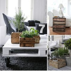 I think wood pallets and crates are so beautiful when repurposed properly. Pretty much this whole page is on my list of thins to make for the new home.