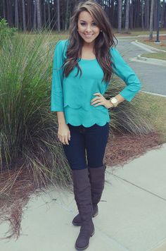 I would wear this but i dont have the shirt...but i have a plain blue shirt, jeans and brown boots! Cute and simple!