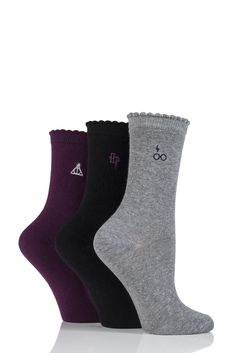 SOCKSHOP Harry Potter Embroidered Detail Cotton Socks Harry Potter Socks, Deathly Hallows Symbol, Sock Shop, Colorful Socks, Cotton Socks, Uk Fashion, Beautiful Outfits, Beautiful Clothes, Pairs