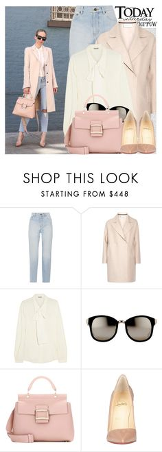 """2638. Blogger Style: Brooklyn Blonde"" by chocolatepumma ❤ liked on Polyvore featuring Oris, Yves Saint Laurent, Harris Wharf London, Miu Miu, Linda Farrow, Roger Vivier, Christian Louboutin, chic, Pink and classy"