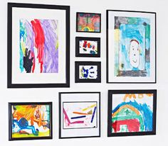 These display ideas cost next to nix but are worth their weight in gold to the lucky mum who receives her children's paintings so beautifully presented.