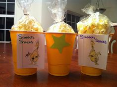 Sneetch snacks for Dr. Seuss week. I used air popped popcorn and white cheddar cheese... But the colored popcorn would be great in here!