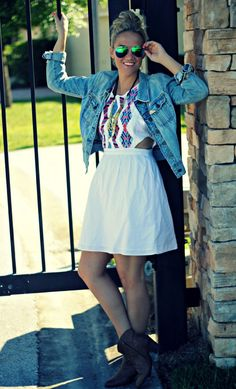 Springing into tribal: white cut out dress with tribal prints, with a denim jacket, and ankle boots, with some accessories