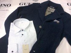 Aglini + NHAV by Guerrino Style MAN*UOMO # Camicia € 142,50.- # Giacca Maglia (Colore Blu) € 218.-