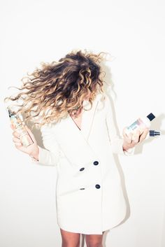 How to Master Air Drying Hair Early in the Morning: In this series with Bumble and bumble, our editorial director, Laurel Pantin, shows us what products to use when you have fluffy, fine, ultra-curly hair (and have already hit snooze about a dozen times that morning). -- Misha Nonoo White Suit Dress  |  coveteur.com