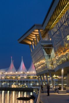 View towards Canada Place from the Vancouver Convention Centre West.