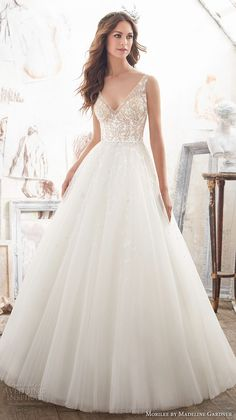 morilee spring 2017 bridal sleeveless v neck heavily embellished bodice tulle skirt romantic a line wedding dress open v back chapel train (5515) mv #wedding #bridal #ballgown #romantic