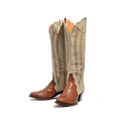 6 M | Women's Tall Cowboy Boots Two Tone Lizard Western Boots w/ Scallop Shafts in Brown & Cream Colors by J. Chisholm
