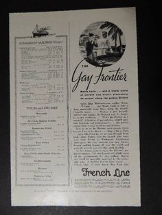 1933 THE GAY FRONTIER...FRENCH LINE TRAVEL VINTAGE HALF PAGE AD | Collectibles, Advertising, Merchandise & Memorabilia | eBay!