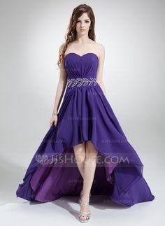 Corte A/Princesa Escote corazón Asimétrico Chifón Vestido de baile de promoción con Volantes Bordado (018022777)