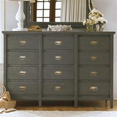 Complete your cottage inspired bedroom decor with the Haven& Harbor Dresser from Stanley Furniture& Coastal Living Resort Collection. This distressed dresser features 12 spacious drawers 12 Drawer Dresser, Gray Dresser, Dresser Mirror, Chest Drawers, Dresser Storage, Tall Dresser, Drawer Pulls, Furniture Makeover, Home Furniture