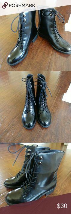 Women's combat boots Black, synthetic lace up boots-nwot Aldo Shoes Combat & Moto Boots