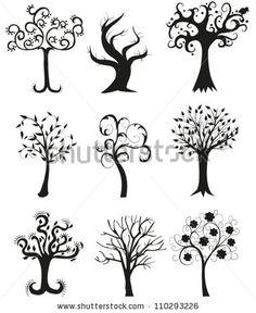 Set Of Tree Silhouettes Illustration - 110293226 : Shutterstock