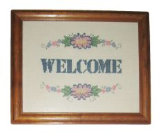 "Completed Framed Cross Stitch ""Welcome"" Home Flowers Friends House"