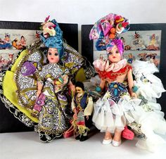 2 Vintage Chiquita Traditional Costume Hard Plastic Dolls Boxed 1950s + 1 Other - Ebay £4.95