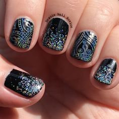 Black hologram nails