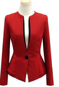 Love the cut, like the black details on the colored blazer Red and black combination is awesome Pin by Sandra Lozano Guevara on Ropa ejecutiva in 2019 Choies Zipped Blazer In White and outfit - Salvabrani find more at Blazers For Women, Suits For Women, Jackets For Women, Clothes For Women, Blazer Outfits, Blazer Fashion, Office Fashion, Work Fashion, Fashion Design