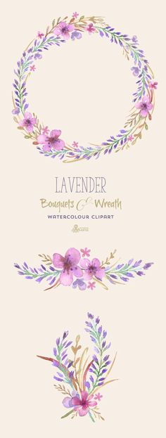 Lavender Watercolour Bouquets & Wreath Clipart. Hand painted flowers, floral diy elements, wedding, invite, purple, blossom: