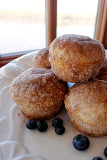 French Breakfast Puffs Recipe : French Breakfast Puffs Recipe from The Pioneer Woman Cooks  Puffs: 3 cups all-purpose flour 3 teaspoons baking powder 1 teaspoon salt 1/2 teaspoon ground nutmeg 1 cup sugar 2/3 cup shortening 2 eggs 1 cup milk  Coating: 1/2 pound (2 sticks butter) 1 1/2 cups sugar 3 teaspoons ground cinnamon