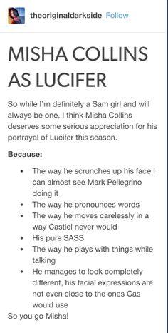 Misha as Lucifer