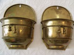 "Vintage Pair Brass Wall  Pockets Vases Planters India 6.5"" x 9"" Great Patina   http://www.ebay.com/sch/nancyscottagetreasures/m.html?_nkw=&_armrs=1&_from=&_ipg=50&_sop=10"