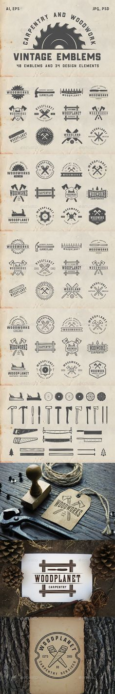 48 Vintage Carpentry Emblems Part 2 Set of vintage carpentry and woodworks emblemsm, badges, logos and design elements You can use it for logo design, badge design, emblems, sport, shop sign, t-shirt prints and much more.  You get:  48 emblems 34 design elements Product features: All files are in AI, EPS, PSD, PNG and JPG formats. 100% Vectors / Fully scalable / Fully editable; Text 100% editable and can be easely removed. Fonts and mock-ups are not included. List of used fonts:  Montana…