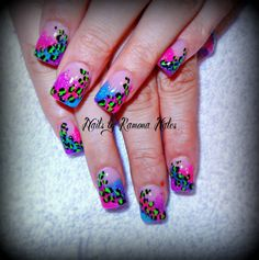 Neon Leopard Print, nails done by me. Hand painted, fully sculpted acrylic nails