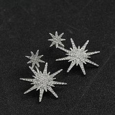 Geometric Luxury Double Star Snowflake Earrings Women Classic Jewelry Rose Gold Silver Black