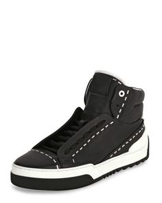 Metal-Stud+Leather+High-Top+Sneaker,+Black+by+Fendi+at+Neiman+Marcus.
