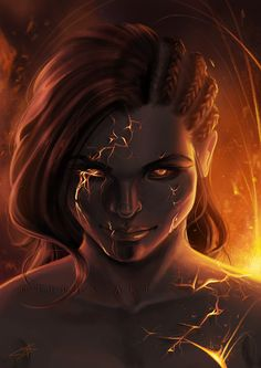 Lava by Tiphs on DeviantArt - Hautpflege Female Character Design, Character Creation, Character Art, Dnd Characters, Fantasy Characters, Female Characters, Fantasy Inspiration, Character Inspiration, Dark Fantasy