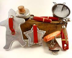 Vintage Red Handled Kitchen Utensils and Cookie by Rockintherust, $23.00