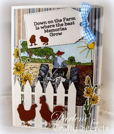 Great Farm theme card using Crafty Secrets Down on the Farm Digital set - which has so many NEW designs added! By Darlene Pavlick for Crafty Secrets June Linky Party